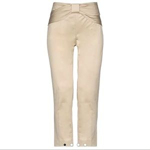 Red Valentino Cream Casual Bow Cropped Front Pants